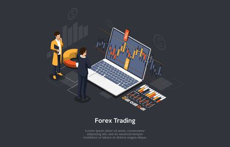 Isometric Forex Trading Concept. Traders Are Analysing the Chart. Vector illustration.