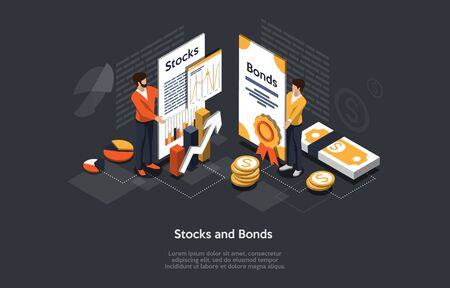 Isometric Stock And Bonds Concept. Business People Man And Woman Forming an Securities Investment Portfolio. Vector Illustration.