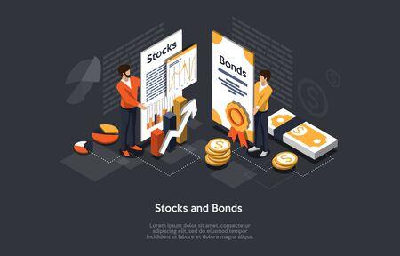 Isometrisches Aktien- und Anleihenkonzept. Geschäftsleute Mann und Frau bilden ein Wertpapier-Investment-Portfolio. Vektor-Illustration.