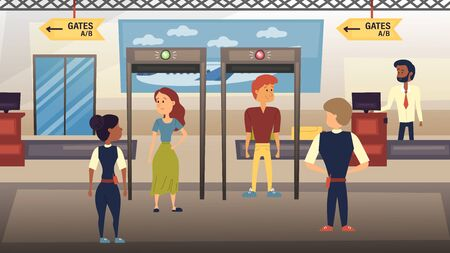 Airport Security Check Concept. People Are Going Through the Security Checkpoint and Checking by Airport Security Staff. Flat Style. Vector Illustration Ilustração