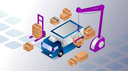 Isometric Warehouse Concept. Truck With Crane, Pallet Truck And Cardboard Boxes On The Abstract Background. Vector Illustration  イラスト・ベクター素材