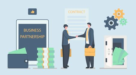 Successful Partnership, Business Cooperation Agreement, Teamwork Solution and Handshake of Two Businessman on Stylish Background with Big Tablet And Safe With Money. Flat style. Vector illustration