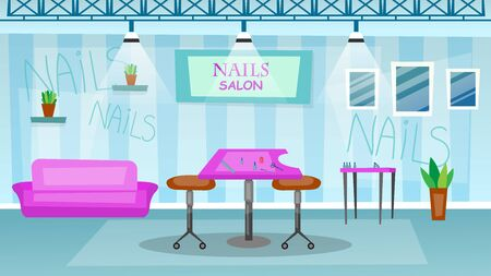 Manicure and pedicure salon interior concept. Empty Beauty Salon Interior With Tools And Furniture.Cartoon Flat style. Vector illustration.
