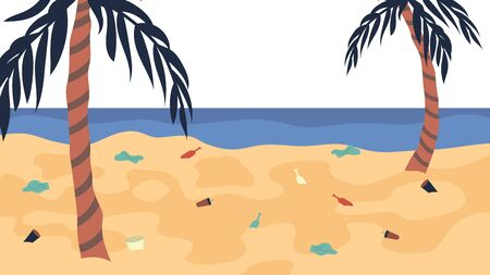 Ocean Pollution Concept, Lots Of Trash On The Beach. Dirty Polluted Seaside Covered With Plastic And Other Garbage. Cartoon Flat Style. Vector illustration