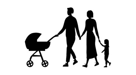 Family Silhouettes Isolated On The White Background. Black Silhouettes Of Father With Baby In the Pram, Mother Is Holding Daughters Hand. Cartoon Flat Style. Vector Illustration