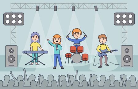 Concert pop group artists on scene music stage night and young rock metall band crowd in front of bright nightclub stage lights vector illustration Stock Illustratie