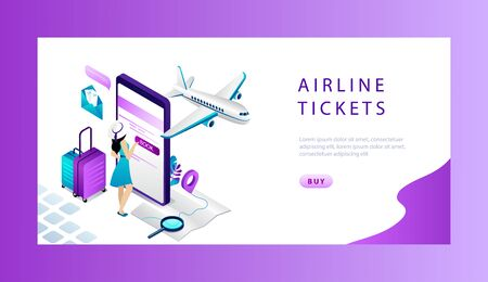 Isometric Reservation And Booking Airplane Ticket Online Concept. Website Landing Page. Woman Is Buying or Booking Online Ticket On the Big Smartphone. Online Ticket Web Page Vector Illustration