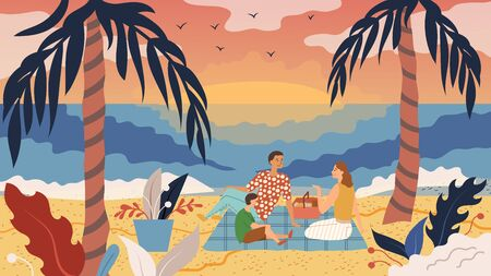 Family Time Concept. People Have A Picnic On The Coast. Father Mother And Son Have Fun, Eat, Enjoy the Sunset On the Beach Between Two Palm Trees By the Sea. Cartoon Flat style. Vector illustration