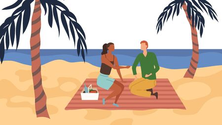 Dating Concept. Couple In Love Have A Picnic On The Coast. People Communicate, Eat, Spend Time Together, Enjoying the Sunset On the Palm Beach By the Sea. Cartoon Flat style. Vector illustration Çizim