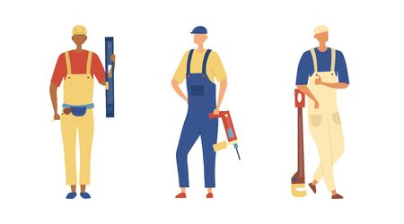 Renovation And Construction Concept. Group of Construction Engineers and Builders in Robe with Building Equipment Tools Isolated On The White Background. Cartoon Flat Style. Vector Illustration Ilustração