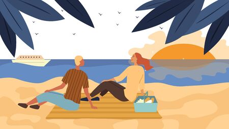Dating And Honeymoon Concept. Couple In Love Have A Picnic On The Coast. People Communicate, Spend Time Together, Enjoying the Sunset On the Beach By the Sea. Cartoon Flat style. Vector illustration