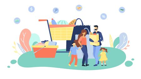 Family Shopping Concept. Father With Bag With Food. Big Trolley, Basket And Bag With Food Supply On Abstract Background. Concept Of Family Spending Time. Cartoon Flat Style. Vector Illustration.