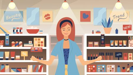 Concept Of Cosmetic Store, Skin care, Beauty. Shop Assistant Near Shelves With Perfumes And Cosmetics. Young Woman Is Enjoying the New Aroma In A Perfume shop. Cartoon Flat style. Vector illustration