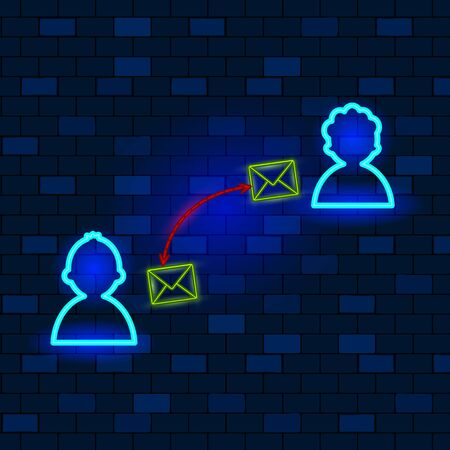 Vip Neon Icons Concept. Cute Vip Neon Characters Silhouettes Are Sending Emails To Each Other On The Dark Brick Wall Background. Concept Of Neon Sending Emails. Flat Style. Vector Illustration.