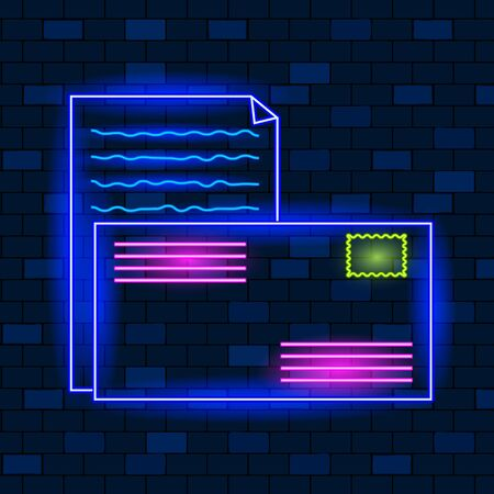 Concept Of Vip Neon Icons, Send Mail. Cute Vip Neon Envelope And Postal Stamp On The Dark Brick Wall Background. Neon Glowing Envelope and Postal Stamp. Flat Style. Vector Illustration.