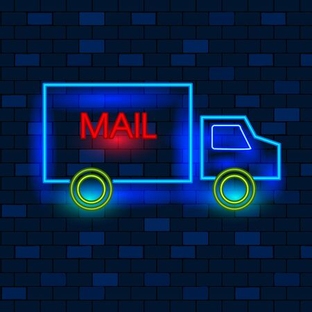 Concept Of Vip Neon Icons, Send And Delivery Mail. Cute Vip Neon Mail Truck On The Dark Brick Wall Background. Neon Glowing Mail Truck With Mail Sign On The Side. Flat Style. Vector Illustration.