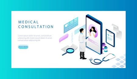 Isometric Concept Of Online Medical Consultation. Website Landing Page. Woman At Doctors Appointment. Concept Of Online Reservation For Doctor s Appointment. Web Page Cartoon Vector Illustration