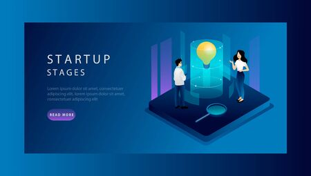 Isometric Concept Of Startup Stages, Solutions Investment Ideas With Tiny Cartoon Characters. Website Landing Page. Commerce Startup Stages For Investments Analysis. Web Page Vector Illustration