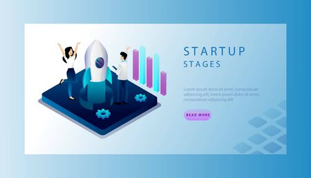 Isometric Concept Of Startup Stages, New Business Ideas With Tiny Cartoon Characters. Website Landing Page. Business People Are Happy To Launch New Successful Project. Web Page Vector Illustration
