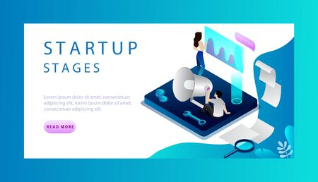 Isometric Concept Of Startup Stages. Website Landing Page. Tiny People Are Analysing And Developing Startup Stages. Commerce Startup Stages For Start New Business. Web Page Vector Illustration