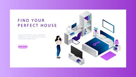 Isometric Real Estat Sale And Buy Concept. Website Landing Page. Woman Is Searching House For Buying Online. Model Of House Interior Bedroom With Workplace. Web Page Cartoon Vector Illustration