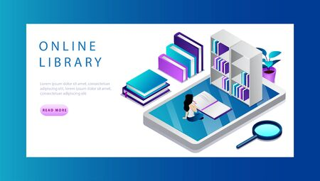 Isometric Online Library Concept. Technology And Literature. Website Landing Page. Tiny Cartoon Woman Is Searching Necessary Information And Studying In Online Library. Web Page Vector Illustration