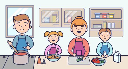 Family Cooking Concept. Happy Family Cooking Food In The Kitchen Together. People Are Communicating And Having A good Time. Kitchen Design Interior. Cartoon Flat Outline Linear Vector Illustration Ilustração