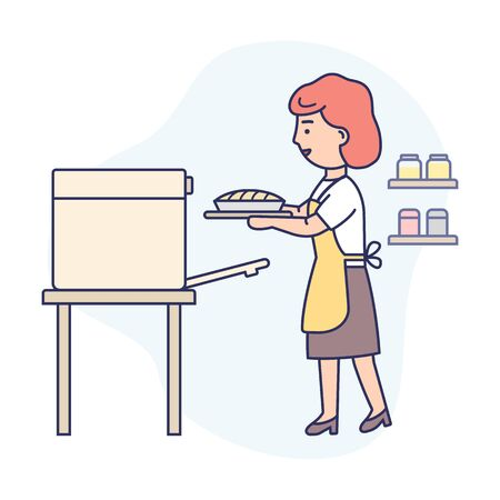 Cooking Concept. Happy Woman Is Cooking Food At The Kitchen, Baking Tasty Pie. Woman Is Taking Pie Out The Oven. Housewife Is Cooking Healthy Food. Cartoon Flat Outline Linear Vector Illustration Ilustração