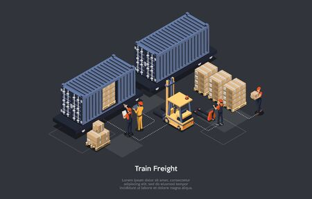 Isometric Concept Of Warehouse And Train Freight. Freight Wagons on Rails And Work Personnel. Manager With Tablet Is Monitoring The Process of Loading and Unloading Cargo. Vector illustration