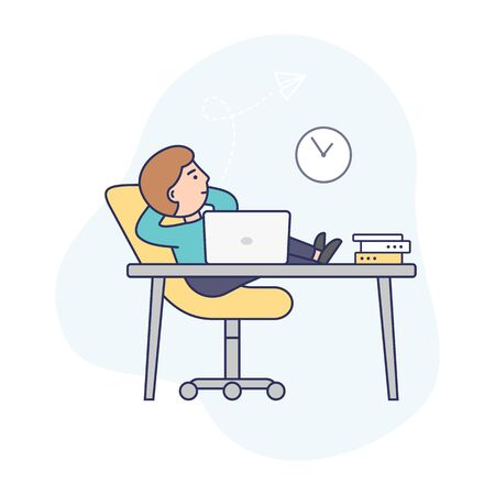 Concept of Deadline, Term and Time Waste. Procrastinating Businessman is Sitting At Workplace With Legs On Office Desk. Man Is Relaxing From Work In The Office. Outline Linear Flat Vector Illustration.