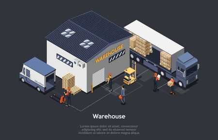 Isometric Warehouse Concept. On Time Delivery Home And Office. Delivery Truck, Work Staff, Manager Controls Process Of Loading and Unloading Cargo. Work Process On Warehouse. Vector Illustration
