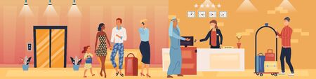 Hotel Service And Staff Concept. Visitors In A Queue In a Hotel. Porter is Carrying Luggage On the Trolley. Receptionist Gives The Keys From Apartments To The Guest. Cartoon Flat Vector illustration