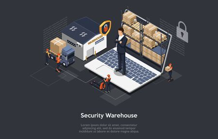 Isometric Concept Of Warehouse Security, Safe Logistics Delivery Service And Staff. Workers Are Sorting, Scanning Goods. Security Manager Is Monitoring The Process, Ensure Safety. Vector illustration Ilustração