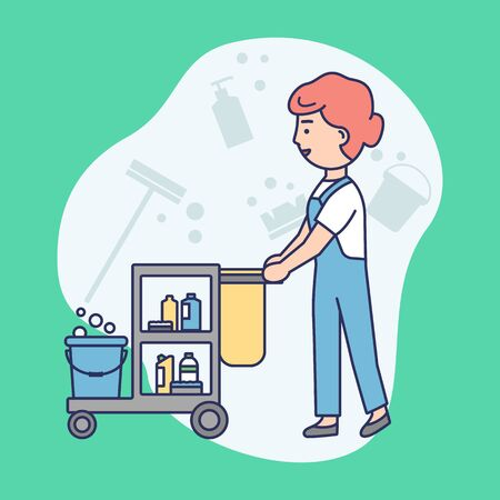 Cleaning Service Concept. Woman In Uniform With Janitorial Cleaning Trolley. Multi Purpose Janitorial Cleaning Service. Cleaning Company Worker. Linear Outline Cartoon Flat Style. Vector Illustration