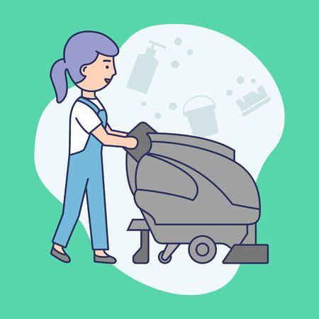 Cleaning Service Concept.Janitorial Worker In Uniform With Multi function Cleaning Machine Washes Floor.Multi Purpose Janitorial Cleaning Service.Linear Outline Cartoon Flat Style.Vector Illustration.