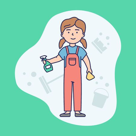 Cleaning Service Concept. Janitorial Worker In Uniform With Cleaning Equipment Tools Ready Do Work. Multi Purpose Janitorial Cleaning Service. Linear Outline Cartoon Flat Style.Vector Illustration Stock Illustratie