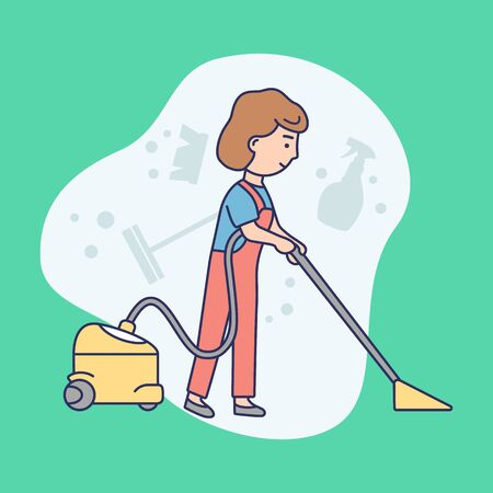 Cleaning Service Concept. Woman In Uniform Is Vacuuming Floor In The Office On Abstract Background. Woman Clean the Room With Vacuum Cleaner. Linear Outline Cartoon Flat Style. Vector Illustration Stock Illustratie