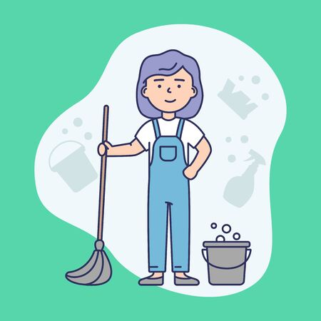 Cleaning Service Concept. Woman In Uniform With a MOP and Bucket Ready To Clean Home And Office. Abstract Background. Cleaning Company Worker. Linear Outline Cartoon Flat Style. Vector Illustration Stock Illustratie