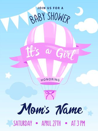 Baby Shower Concept. Hot Air Balloon With Decorations And Place For Text. Girl Baby Shower Or Nursery Decor. Design For Baby, Kids Poster, Card, Invitation. Cartoon Flat style. Vector illustration Иллюстрация