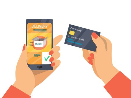 Online Delivery Payment And Mobile Banking Concept. Online Payment Process For Delivery Service By Credit Card. Hand With Mobile Phone, Application, Credit Card. Cartoon Flat Vector illustration