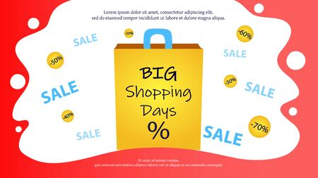 Big Sale And Shopping Concept. Mega Sale Advertisement. Paper Bag With Big Shopping Days Promotional Inscription, Discount Clearance On The Abstract Background. Cartoon Flat Vector Illustration