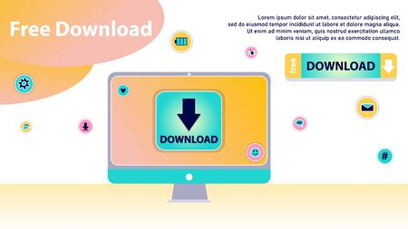 Concept Of Free Download, Anti Piracy. Meaning Of Stream Or Upload. Stylized Concept for Torrent Data From Servers, Online Media Shopping, File Transfer and Sharing. Cartoon Flat Vector Illustration Stock Illustratie