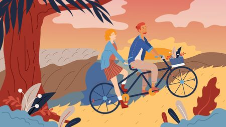 Young Loving Couple Have A Good Time, Riding Tandem Bicycle Together by the Street In The Park. Summertime Vacation, Spare time, Leisure, Romantic Voyage. Love Relations. Flat Vector Illustration