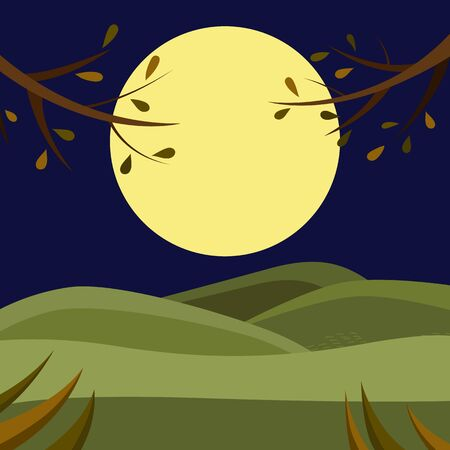 Beautiful Natural Forest, Hills and Mountains View. Landscape Of Evening Sunset Or Morning Sunrise With Tree Branches. Beautiful View For Relax, Calm And Meditation. Cartoon Flat Vector Illustration Stock Illustratie