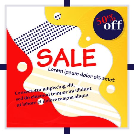 Big Sale And Shopping Concept.Sale Advertisement For Flyers, Labels. Big Sale Banner With Promotional Inscription, Discount, Place For Text On The Abstract Background.Cartoon Flat Vector Illustration