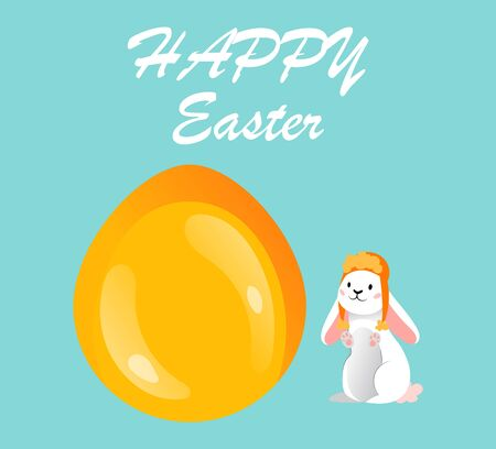Happy Easter Postcard Template. Gold Glitter Paschal Egg And Cute White Rabbit on Blue Background. Greeting Inscription Happy Easter With Gold Easter Egg. Cartoon Flat Style. Vector illustration