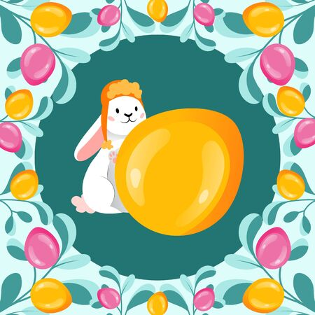 Template Of Happy Easter Postcard. Gold Glitter Paschal Egg And Cute White Rabbit With Easter Ornate. Greeting Inscription Happy Easter With Gold Easter Egg. Cartoon Flat Style. Vector illustration
