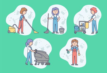 Cleaning Service Concept. Work Personnel Of Cleaning Service Is Cleaning Homes, Offices And Commercial Premises. Professional Cleaning Service. Linear Outline Cartoon Flat Style. Vector Illustration