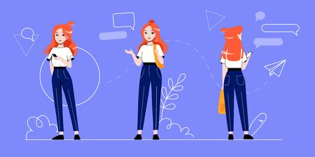 Businesswoman And Self Employment Concept. Young Businesswoman Character In Different Poses On The Abstract Infographic Background. Set Of Cartoon Linear Outline Flat Style. Vector Illustration