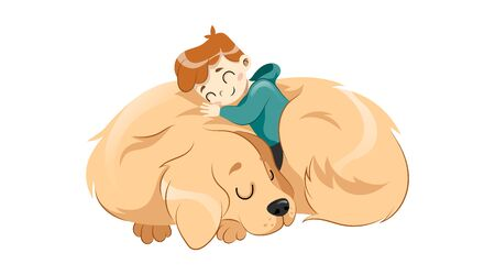 Animal Shelter, Animal Adoption,Care, Homeless Help Concept. Little Boy Child Embraces The Dog Isolated On White Background. Children Friendship And Care Of And Animal. Flat style. Vector illustration 矢量图片